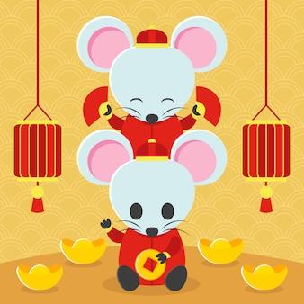 Nette ratte, die chinesisches kostüm mit drachen im neuen jahr trägt