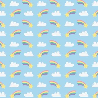 Nette regenbogen mit wolken- und sternmuster