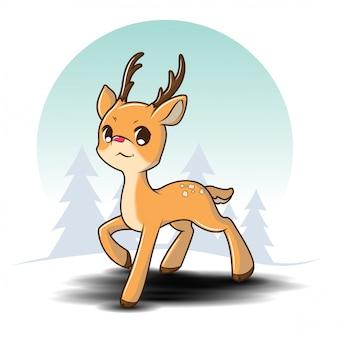 Nette ren-zeichentrickfilm-figur auf kiefernwald im winter, weihnachtskarikatur.