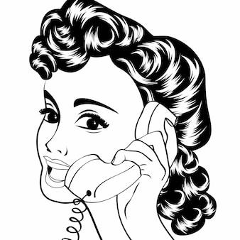 Nette retro- frau der pop-art, die am retro- telefon plaudert