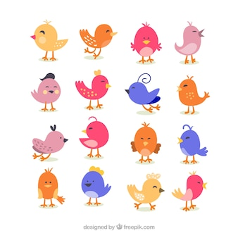 Nette retro vogel cartoons