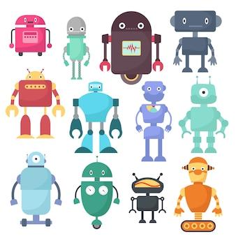Nette roboter, cyborgmaschinenvektor-wissenschaftszeichen