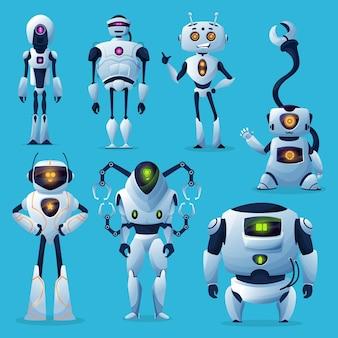 Nette roboter und bots zeichentrickfiguren