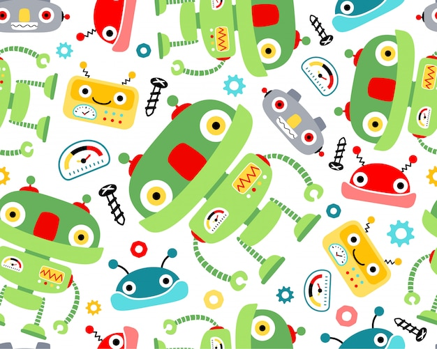 Nette roboterkarikatur auf nahtlosem mustervektor