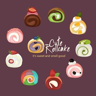 Nette rollkuchen-illustration