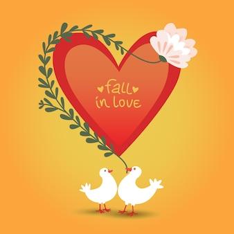 Nette romantische liebeskarte für valentinstag mit roter herzblume und zwei taubenillustration
