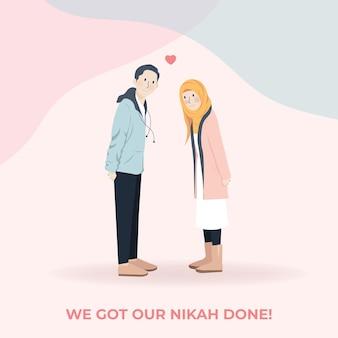 Nette romantische muslimische paar-cartoon-charakter-porträt-illustration, die pose, hochzeitsporträt macht