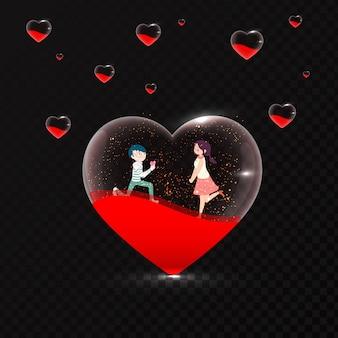 Nette romantische paare in der transparenten herzform auf schwarzem backgro