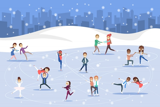 Nette romantische paare und professionelle skater laufen draußen auf dem eis.