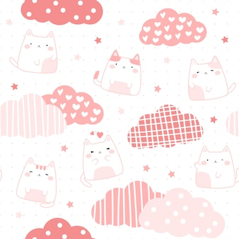 Nette rosa mollige katze auf nahtlosem muster des himmelkarikaturgekritzels