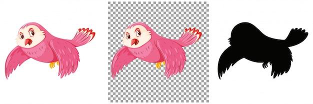 Nette rosa vogelkarikaturfigur