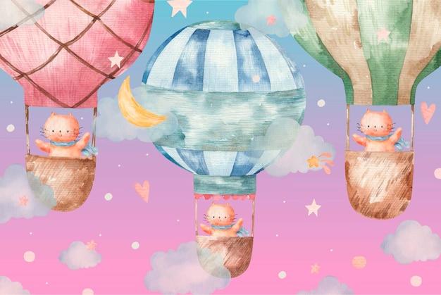 Nette rote katze fliegt auf farbigen luftballons, süße babyaquarellillustration auf weißem hintergrund
