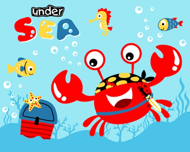 Nette rote krabbenkarikatur unterwasser