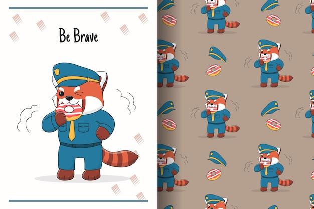Nette rote panda-polizei essen donut nahtloses muster und illustration