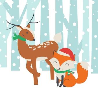 Nette rotwild ein fox-bester freund überhaupt vektor-illustration