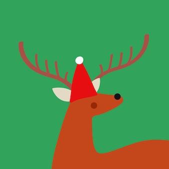 Nette rotwild mit einem weihnachtshut-vektordesign