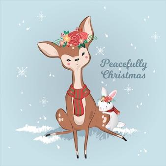 Nette rotwild und kaninchen im weihnachten