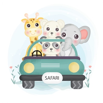 Nette safari-tiere, die auf einem auto im aquarellstil sitzen.