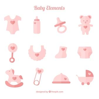 Nette sammlung von baby-zubehör in pastellfarben