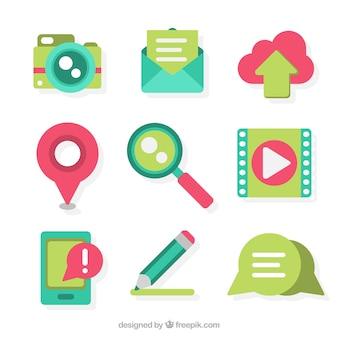 Nette sammlung von elementen für blogs