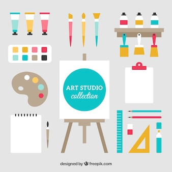 Nette sammlung von elementen für ein kunstatelier