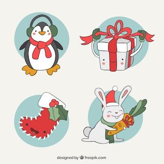 Nette sammlung von glücklichen hand gezeichnet weihnachten zeichen