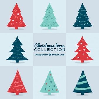 Nette sammlung von weihnachtsbäumen