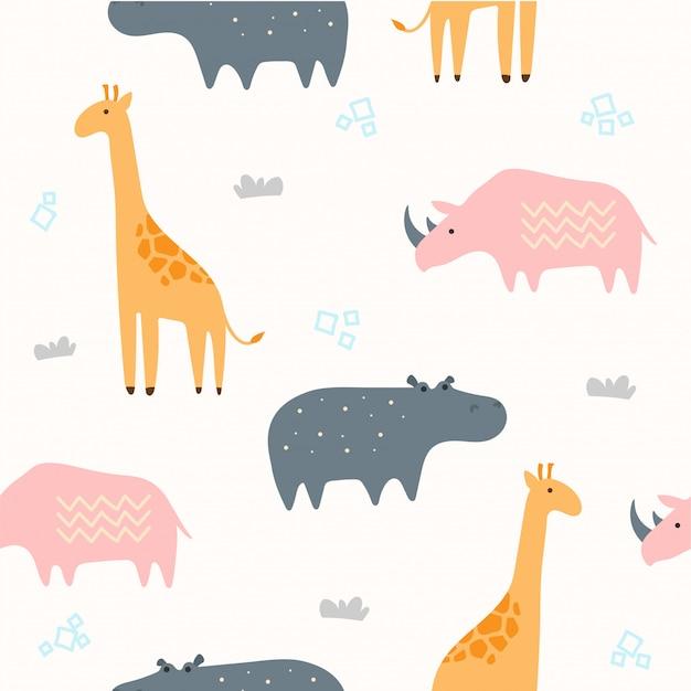 Nette savannah animal seamless pattern für tapete