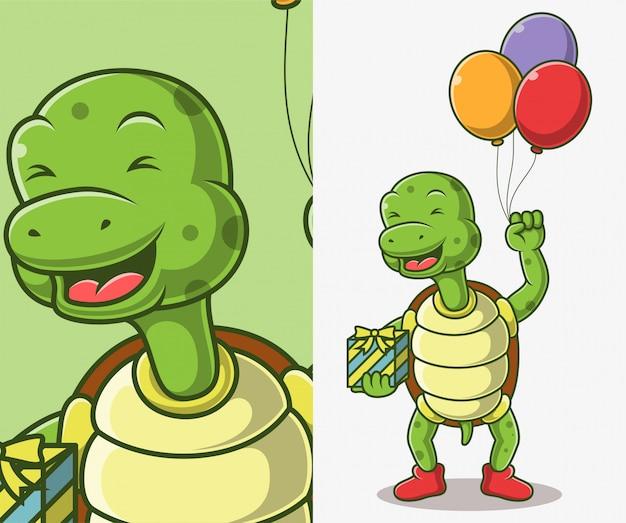 Nette schildkröte, die eine ballonillustration hält.