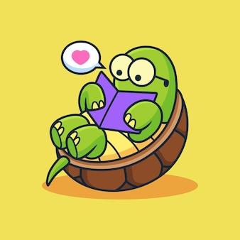 Nette schildkröte, die einen buch-cartoon liest. tiervektorikonenillustration, lokalisiert auf premium-vektor