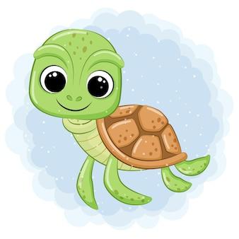 Nette schildkröte, die in der seekarikaturillustration schwimmt