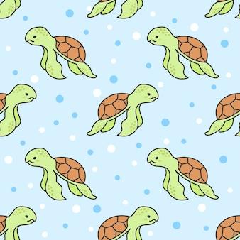 Nette schildkröte-nahtloser muster-hintergrund