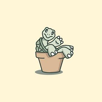 Nette schildkröten-karikatur, die sich zurück auf den topf lehnt
