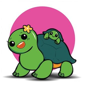 Nette schildkrötenkarikatur, nettes tierkonzept.