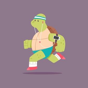 Nette schildkrötenzeichentrickfilm-figur, die übungen tut. fitness und gesunder lebensstil. illustration des lustigen tieres
