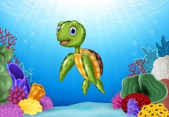Nette Schildkröte mit schöner Unterwasserwelt
