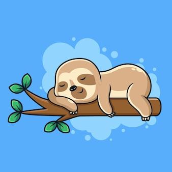 Nette schlaf-faultier-cartoon-cartoon-symbol-illustration. tierikonenkonzept auf blauem hintergrund