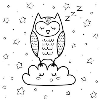 Nette schlafende eule auf der wolkenmalvorlage für kinder. gute nacht malbuch mit sternen.