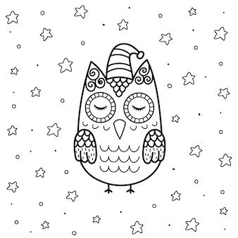 Nette schlafende eule im zentangle-stil malvorlagen für kinder. magischer schwarzweiss-hintergrund mit lustigem charakter.