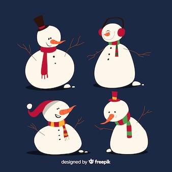 Nette schneemännerweihnachtssammlung im flachen design
