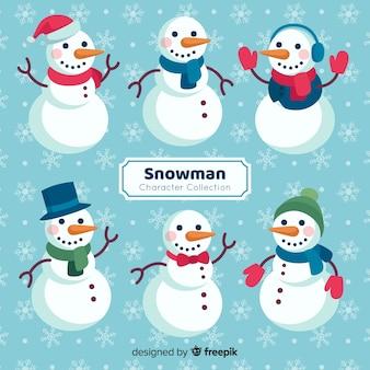 Nette schneemannweihnachtssammlung im flachen design