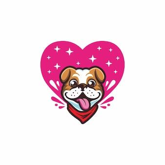 Nette schöne buldogge mit rosa liebeshintergrundmaskottchen-logovektor