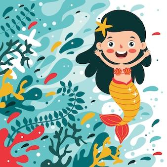 Nette schöne karikatur-meerjungfrau, die aufwirft