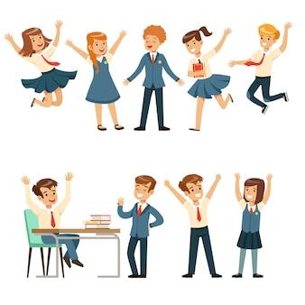 Nette schüler in der blauen schuluniform, die spaß am schulsatz haben, zurück zur schule, bunte illustrationen des bildungskonzepts