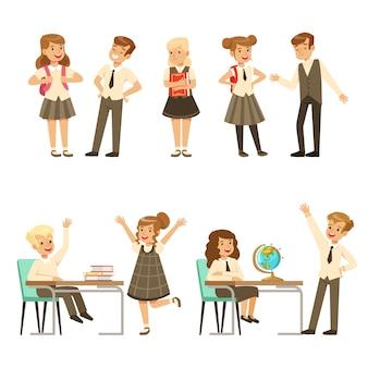 Nette schüler in grauer schuluniform, die spaß am schulsatz haben, zurück zur schule, bunte illustrationen des bildungskonzepts
