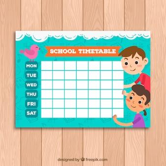 Nette schule zeitplan vorlage mit kindern und vogel