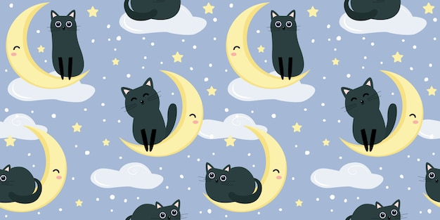 Nette schwarze kätzchenillustration im nahtlosen muster