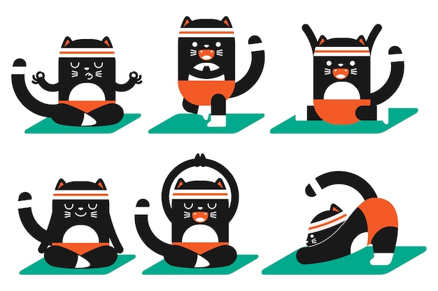Nette schwarze katze, die yoga-posen tut, übt karikatur-haustier-zeichensatz aus