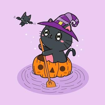 Nette schwarze katze mit kürbis auf dem wasser halloween karikatur.