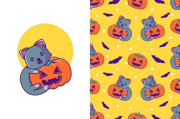Nette schwarze katze mit kürbis glückliches halloween mit nahtlosem muster